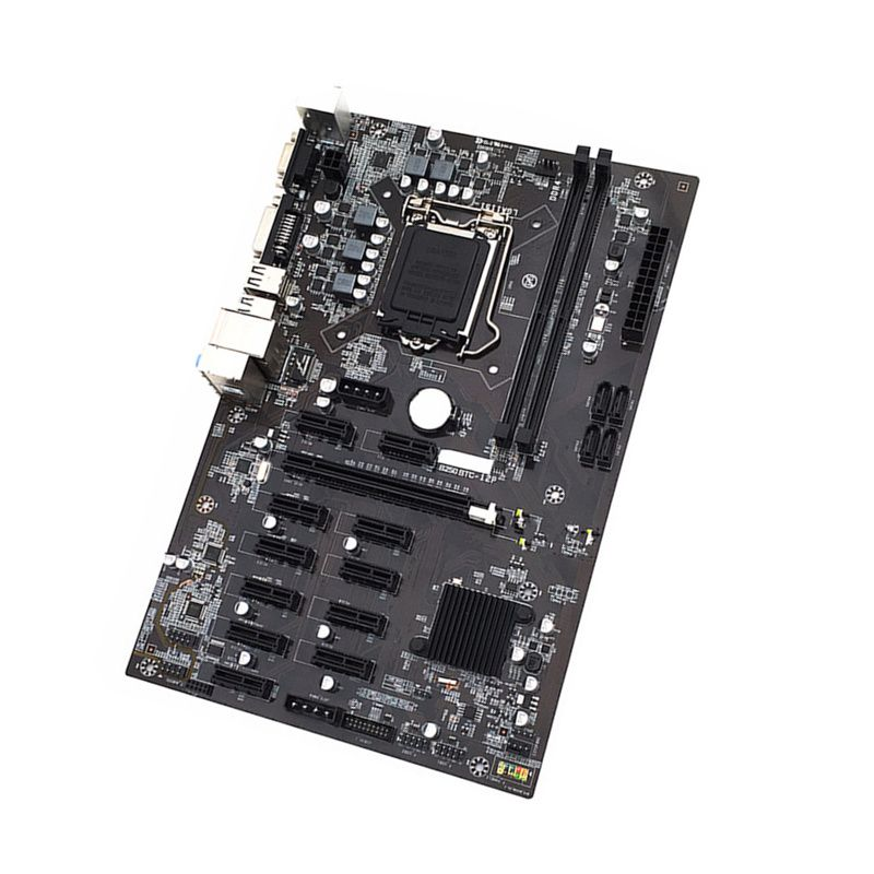 New B250 Motherboard 2*DDR4 For Inter LGA1151 Socket USB3.0 SATA3.0 Support 12 Graphics Cards BTC Mining Motherboard