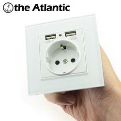 Розетки Мощность 16a ЕС Стандартный выход с 2A Dual USB Зарядное устройство Порты и разъёмы для мобильного телефона закаленное стекло Белый USB раз...