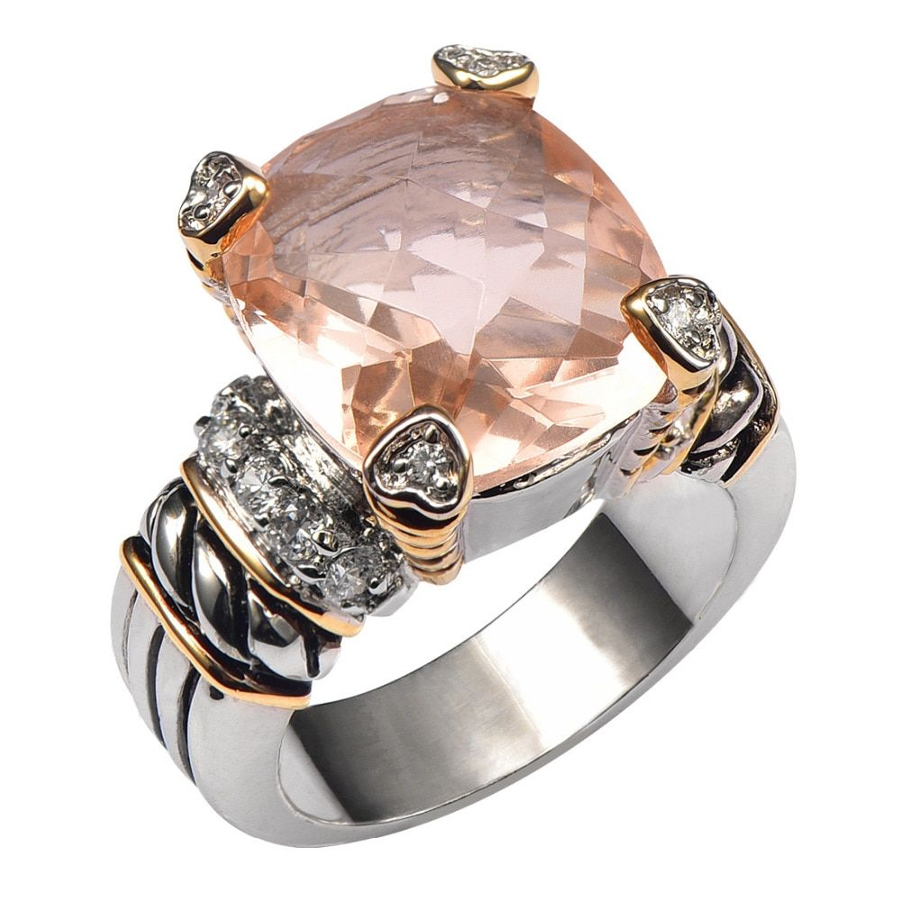 Hot Sale Morganite 925 Sterling Silver High Quantity Ring For Men and Women Size 6 7 8 9 10 F1441