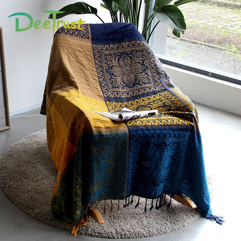 Cotton Bohemian Chenille Towel Blanke Thicken Plaid Decorative Blanket Throw on Sofa/Bed Blanket Table/Plane Blanket Piano Cover