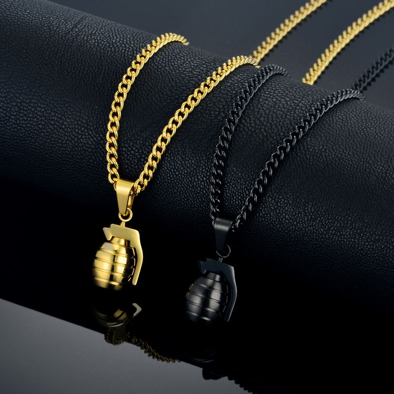Hiphop Hand Grenade Pendant 4 Size Stainless Steel Chain Hipster Man Gold Color Collares Bomb Pendant Necklaces Dropshipping