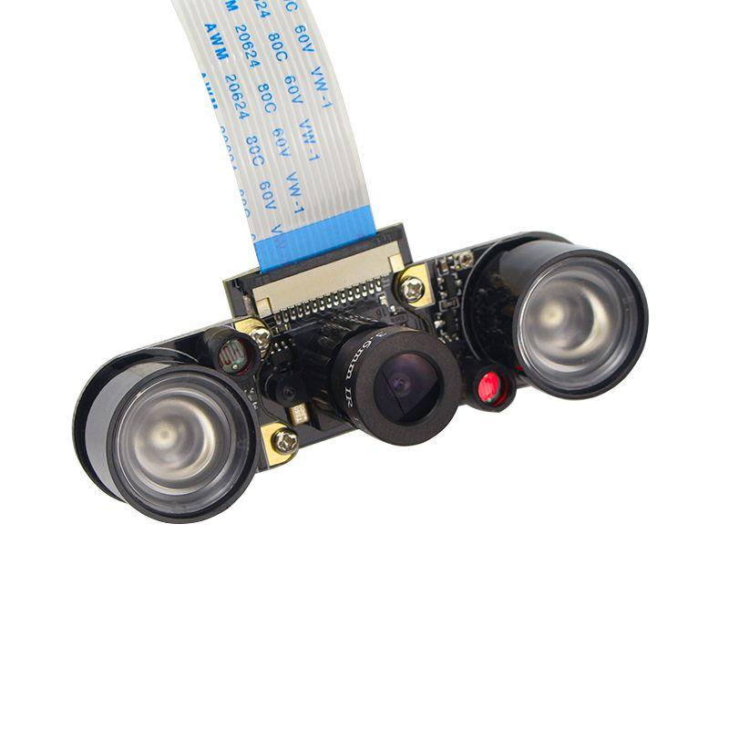 Raspberry Pi 3 Caméra Module Nuit Vision OV5647 5MP Réglable Focal Caméra (F) + 2 Capteur Infrarouge LED Lumières + 15 cm FFC