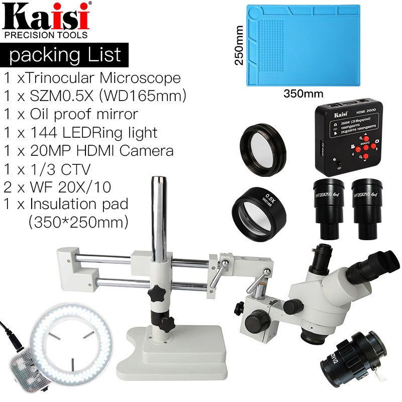 3.5X-90X Doppel Boom Stand Trinocular Stereo Mikroskop 20MP HDMI 1920x1080 Kamera 144 pc Ring Licht SZM0.5X ziel linse