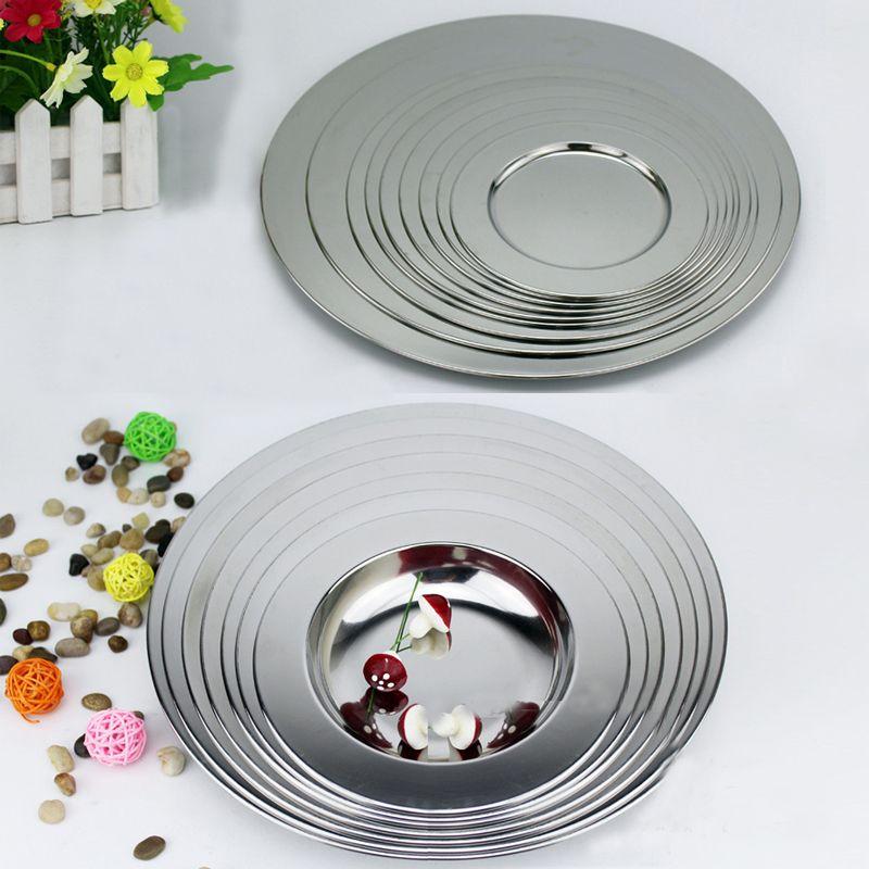 Large plat à soupe polyvalent en acier inoxydable vaisselle assiette Plate vaisselle légumes plat à soupe assiette