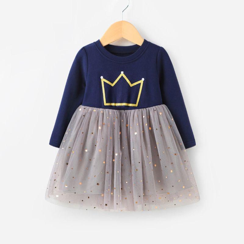 2018 printemps fille robe pleine impression filles vêtements à manches longues robe de princesse pour filles enfants Costume robe Outwear 2-8 ans