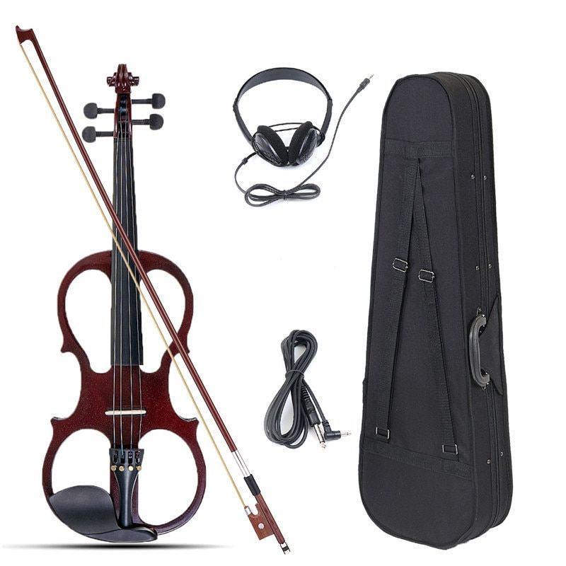 4/4 Electric Acoustic Violin Basswood Fiddle with Violin Case Cover Bow  for Musical Stringed Instrument Lovers Beginners