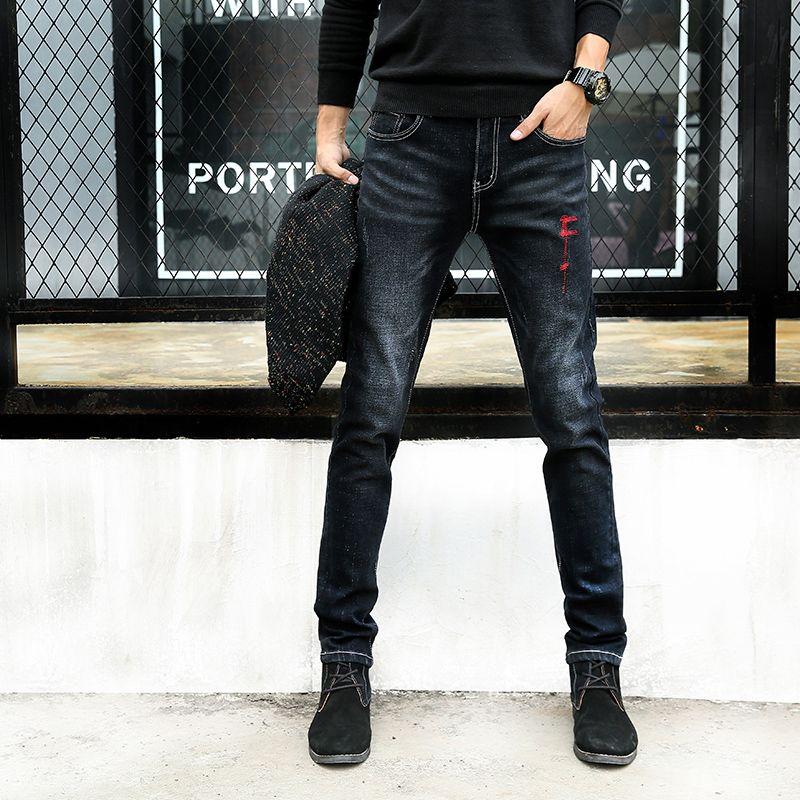 Лидер продаж модные джинсы мужские Slim Fit Stretch Осень джинсы высокого качества мужские длинные штаны карандаш Брюки для девочек Повседневное ...