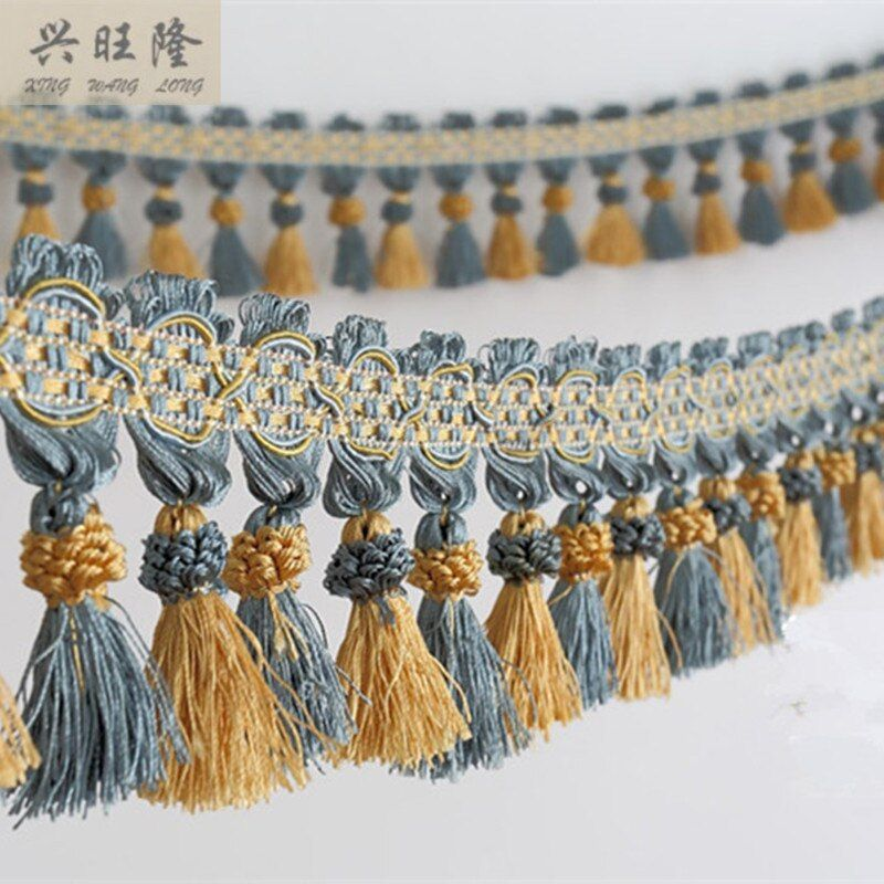XWL nouveau 6 M/Lot 10 cm large rideau dentelle accessoires Double couleur gland franges garniture rubans bricolage pour tissu canapé scène décor à la maison