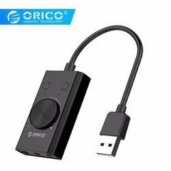 ORICO Внешняя USB звуковая карта стерео микрофон динамики гарнитуры аудио разъем 3,5 мм кабель адаптер немой переключатель регулировки громкост...