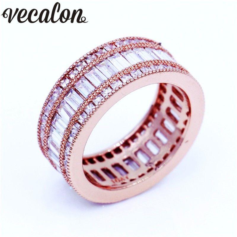 Vecalon Luxury Women Band ring Full princess cut 15ct Diamonique Cz Rose Gold Filled Engagement wedding ring for women men
