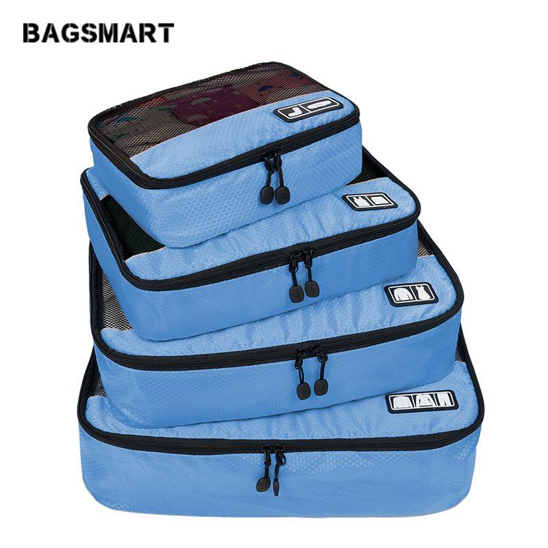 BAGSMART accessoires de voyage 4 Set Cubes d'emballage vêtements bagages respirant léger sacs de voyage pour chemise pantalon soutien-gorge chaussettes