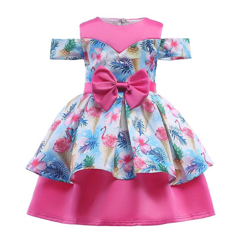Printed Girl dress For Girls Clothes Summer Girls Dress Kids Gowns Wedding Dress Elegent Girls Princess Dresses Vestido