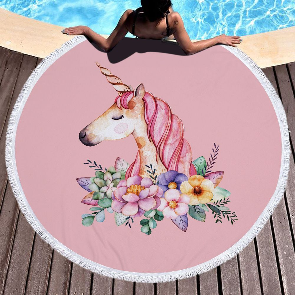 Pink Cute Unicorn Microfiber Thick Terry Cloth Tassel Beach Blanket Serviette De Plage