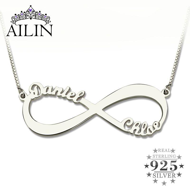 Collier Infinity personnalisé AILIN collier deux noms collier Infinity argent nom collier amour n'a pas de fin amour bijoux cadeau de noël