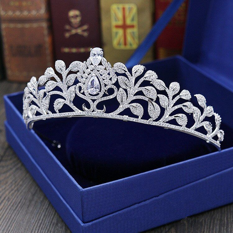 Große Volle Zirkon Tiara Kupfer Zirkon Tiaras Mikro Pflastern CZ Braut Crown Hochzeit Haarschmuck Diadem Mariage Bijoux Coroa WIGO1037