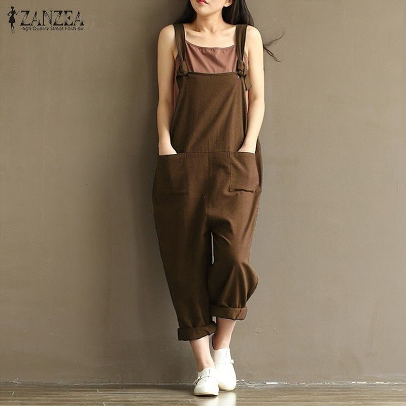 2017 ZANZEA Rompers Womens Jumpsuits Casual Vintage Sleeveless Backless Casual Loose Solid Overalls Strapless Paysuits <font><b>Plus</b></font> Size