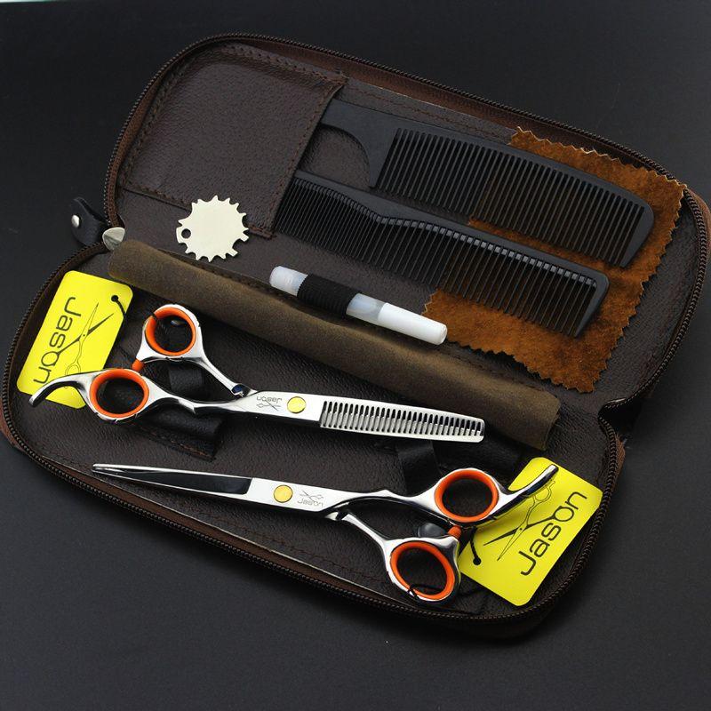 2 ciseaux + sac + peigne japon haute qualité Jason 5.5/6.0 pouces professionnel ciseaux de coiffure coupe de cheveux barbier ensemble de cisaillement Salon