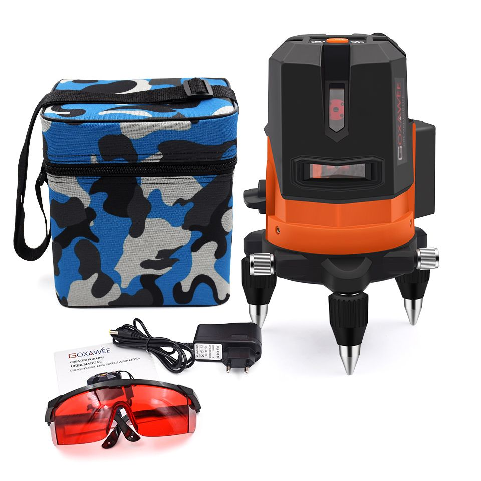 GOXAWEE Laser Level 5 Lines 6 Points 360 Degree Rotary Self Levelling Laser Level 3D Outdoor Mode Lever Construction Tools