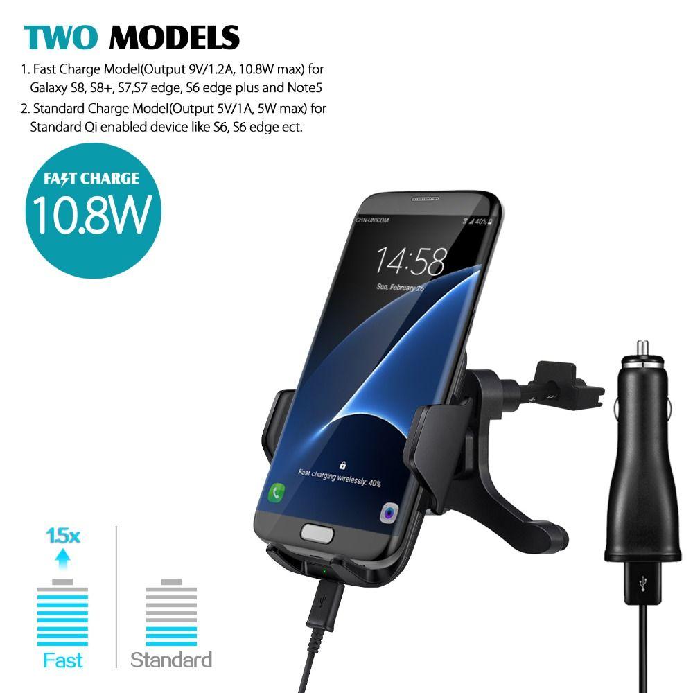 GOLDFOX 10,8 Watt 2A Qi Drahtlose Auto Schnell Charger Air Vent Halterung Für Samsung Galaxy S8, S8 +, S6 S7 Note5 S6 rand + für Iphone