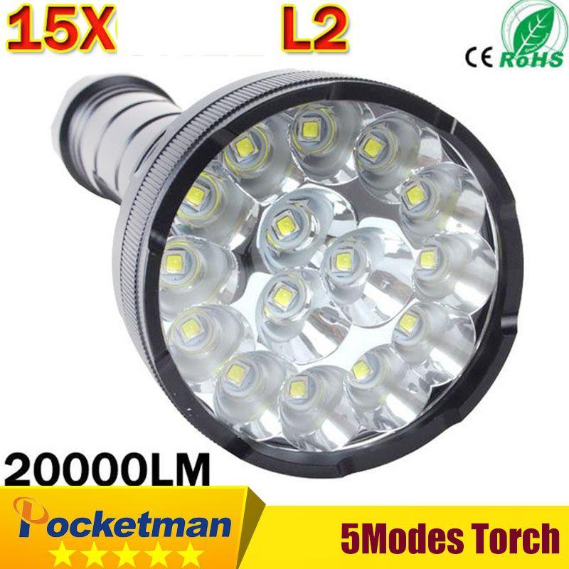 2018 Best Powerful LED Flashlight 20000 Lumen Lanterna led linternas Torch 15 x XM-L2 LED Waterproof Super Bright zk30