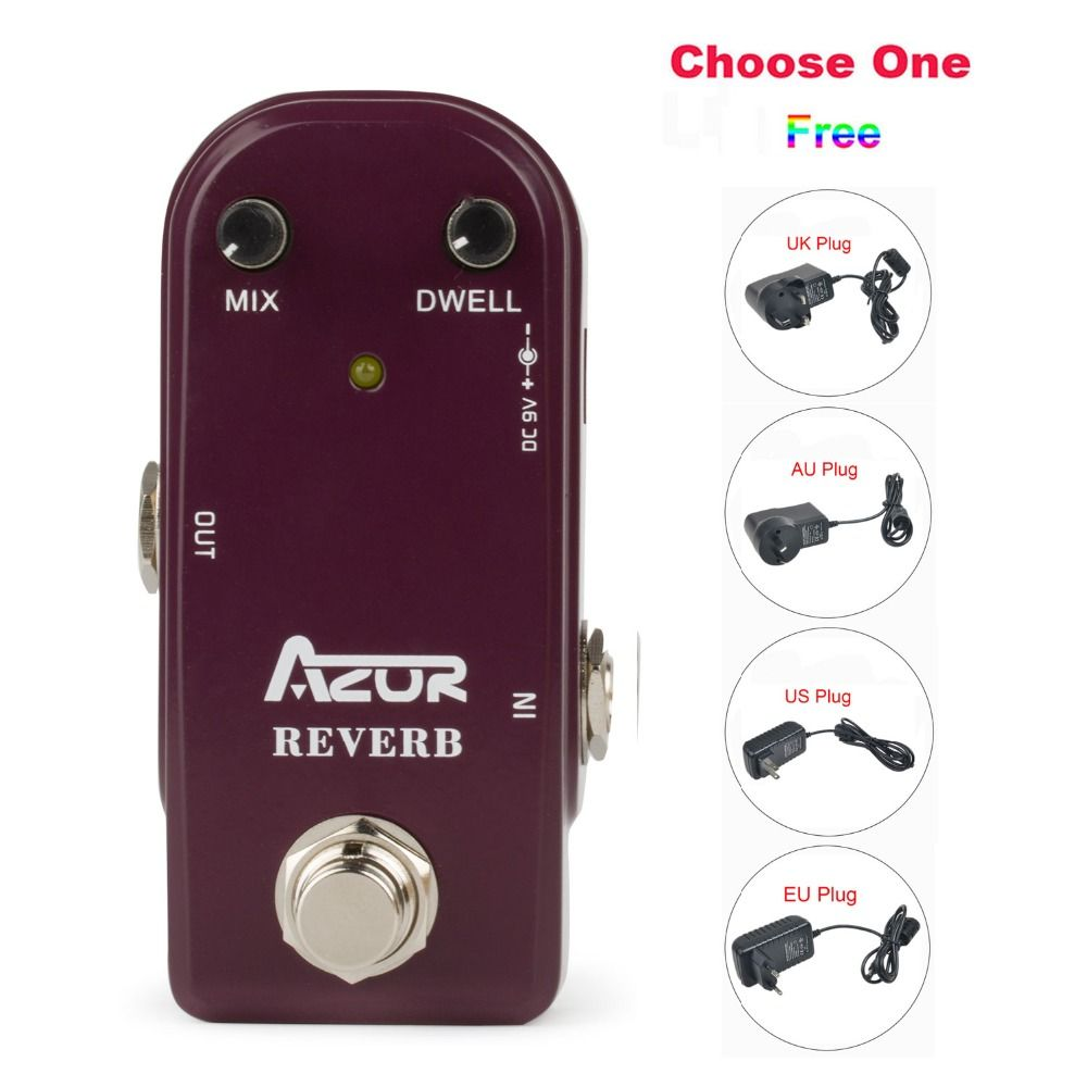 AP-311 Reverb Mini Guitar Effect Pedal with Ture Bypass+9V1A Adapter and 8 Heads Multi-interface Effects Connecting Cable