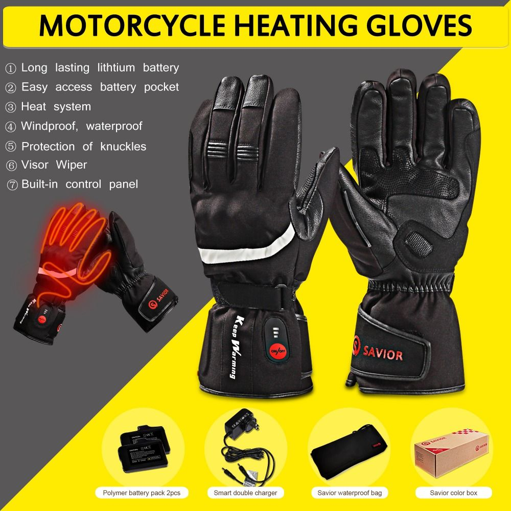 SAVIOR HEAT Motorcycle Outdoor Electric Heated Gloves Rechargeable Battery Hands Warmer fishing Waterproof Riding Racing hot