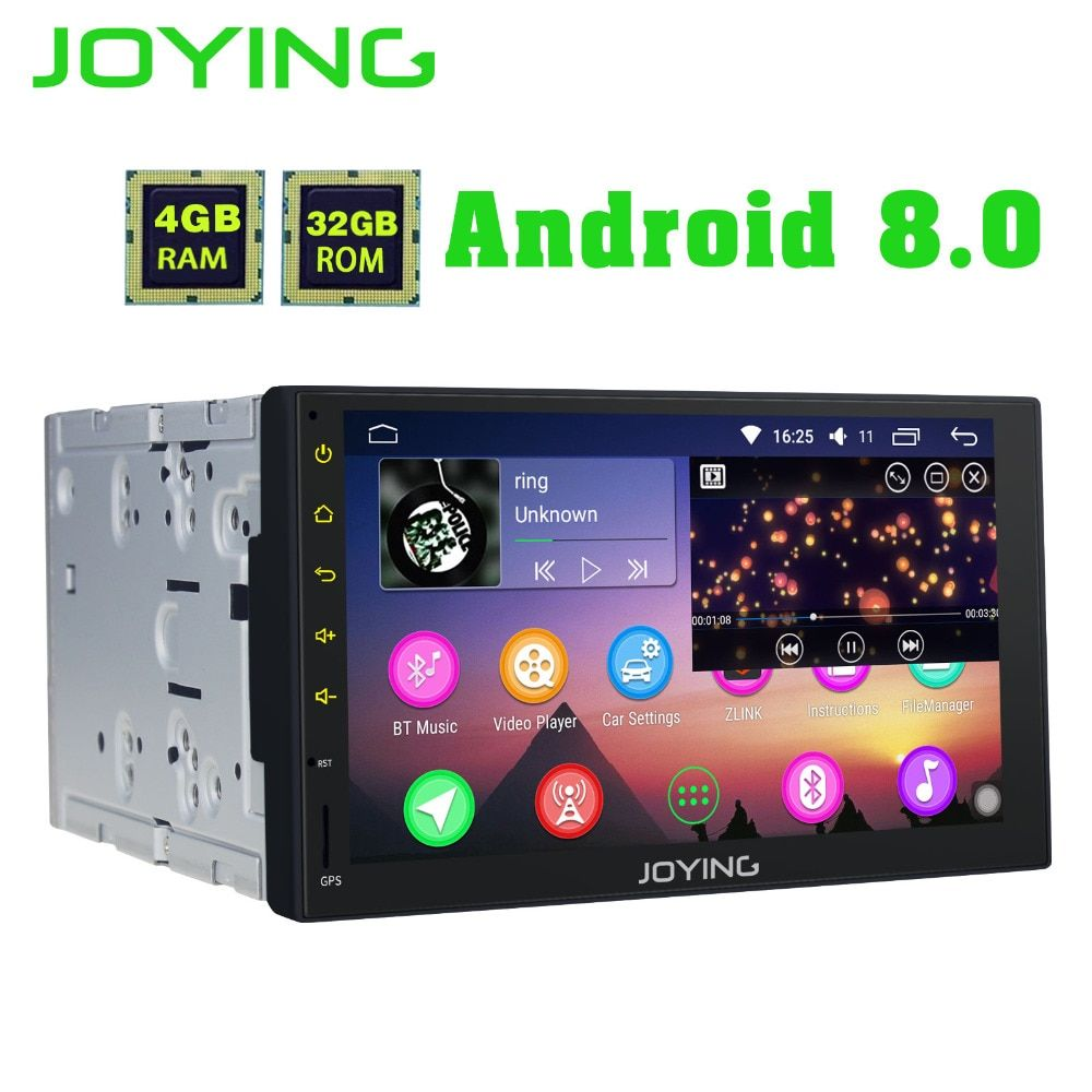 JOYING Octa 8 Core Android 8.0 4GB RAM 7'' 32GB ROM Support WIFI Carplay Car GPS 2 din Universal car Radio HD player head unit
