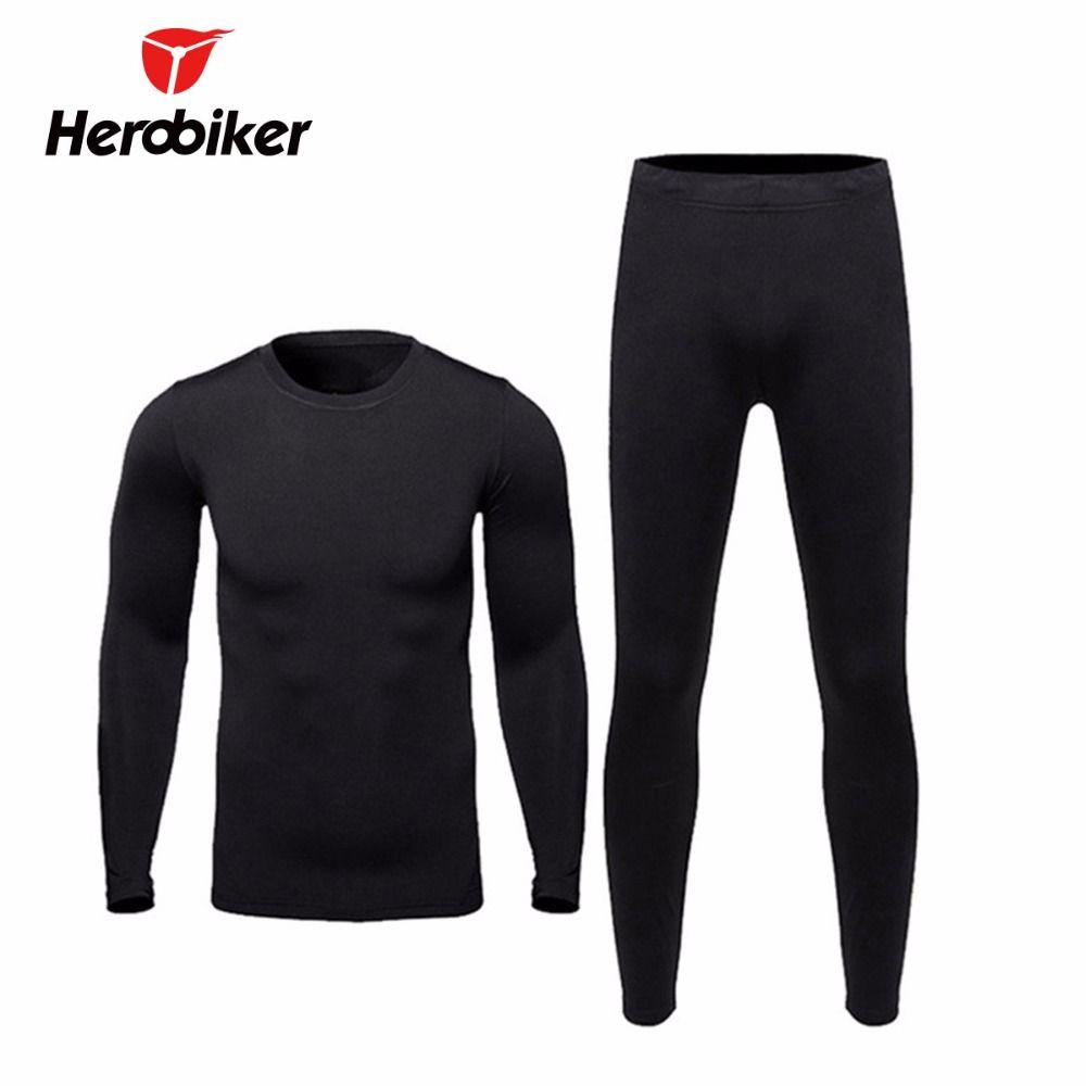 New Men Fleece Thermal Outdoor Sport Underwear Motorcycle Skiing Winter Warm Base Layers Tight Long Johns Tops & Pants Set