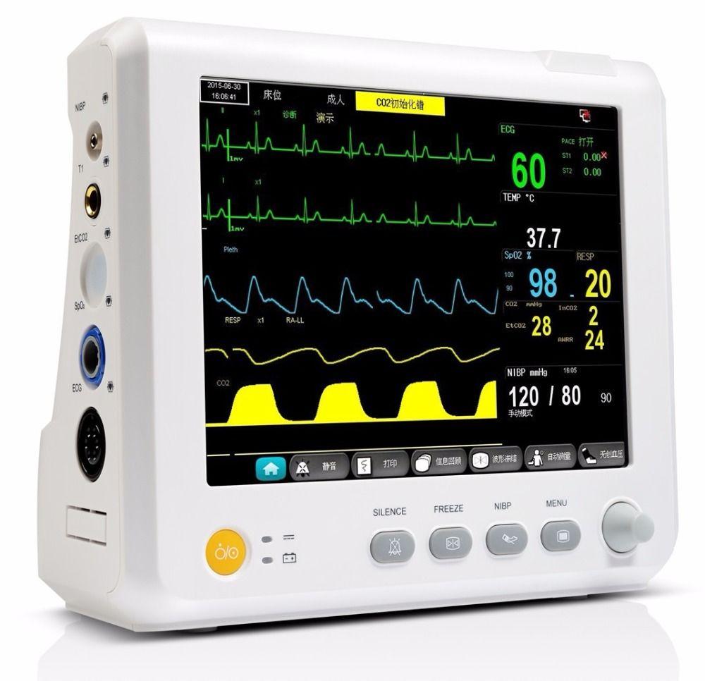 8 zoll Parameter TEMP, Puls Rate, Atmung, EKG, SPO2, NIBP Digitale ICU Patient Vital Signs Monitor