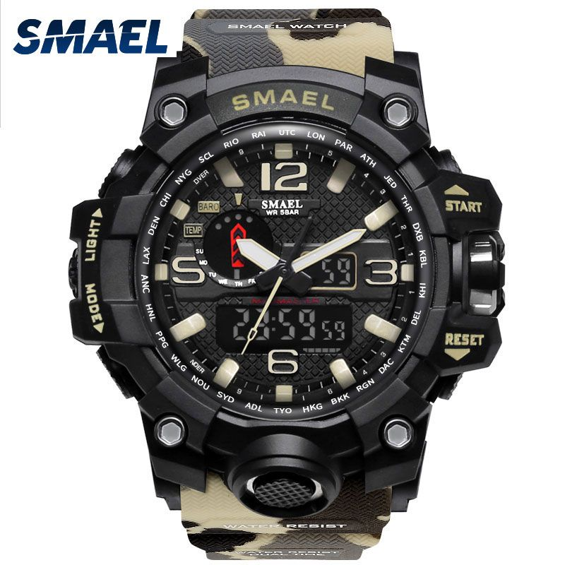 SMAEL Clock Men Sport Watch Waterproof S SHOCK 1545B Dual Uhren Wrist Watch LED Light Relogio Masculino Montre Homme Man Watches