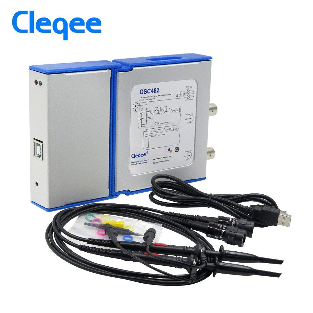 Cleqee OSC482 PC Oscilloscope portable virtuel numérique 2 canaux bande passante 20 Mhz données d'échantillonnage 50 M avec sonde câble USB