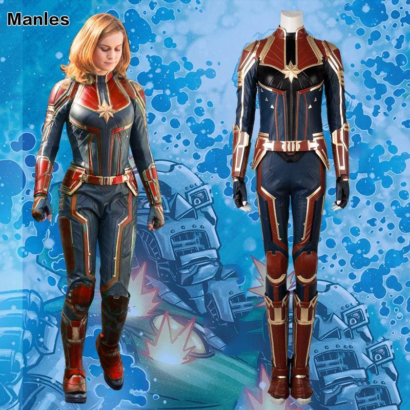 Captain Marvel Cosplay Ms. Marvel Carol Danvers Costume Film Jumpsuit Comics Heroine Halloween Clothes For Women Leather Adult