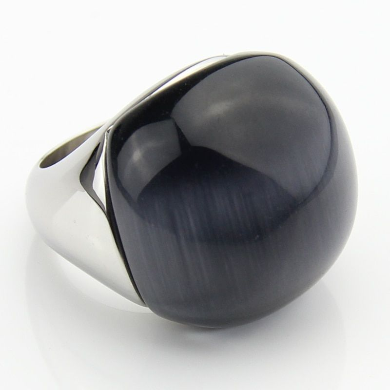 LYCOON Fashion 100% satisfied big natural Cat's eyes <font><b>stone</b></font> round ball Rings 316L Stainless steel Grey opal <font><b>stone</b></font> ring for women