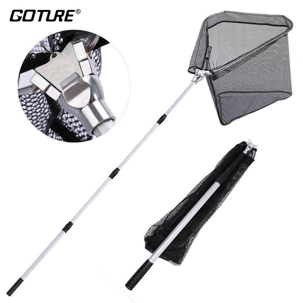 Goture 300 cm/210 cm/150 cm Angeln Kescher, Nylon Mesh mit Gummi Beschichtung, durable Aluminium Teleskop Pole Folding Netze