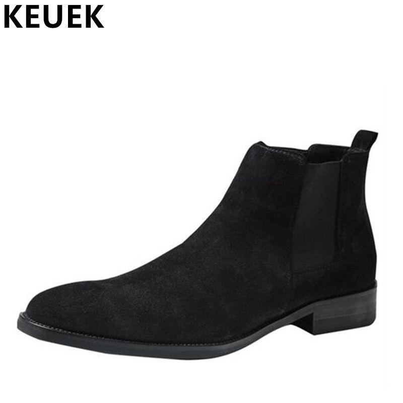 Luxus Vintage Männer Chelsea Stiefel Aus Echtem Leder Atmungs stiefeletten Frühling Herbst Spitz Slip-On Stiefel 033