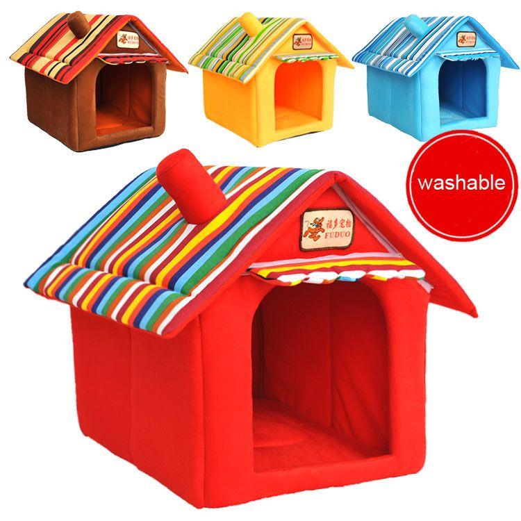 Quatre saisons lavable petit lit pour animaux de compagnie chien chat tente maison chenils pour petit chien doux bande chien chiot lit teddy intérieur maison lit