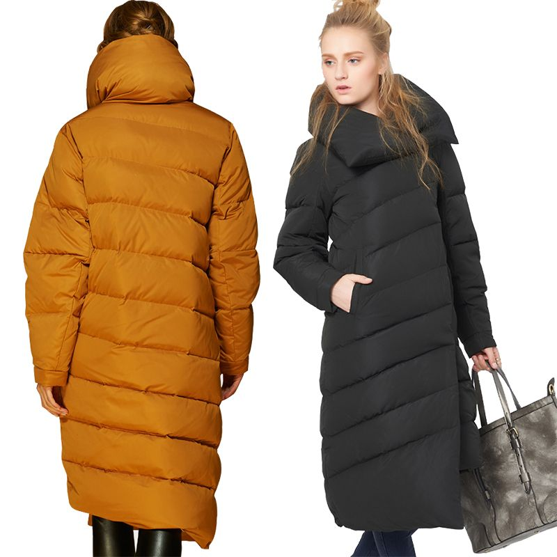 EMIR ROFFER 2017 Winter Women's Down Jacket Female Designer Fashion Asymmetric Long Thick Warm Snow Coat Parka Big Size