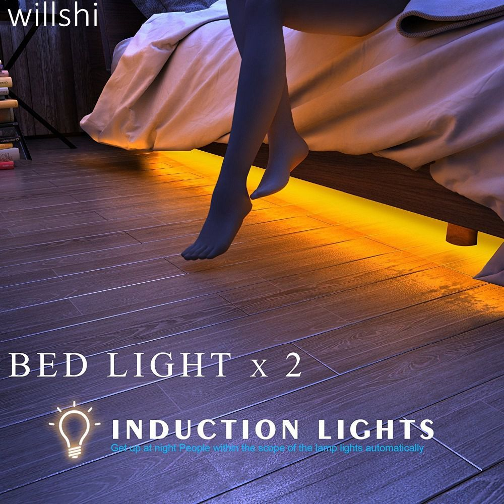 Willshi Lighting Light LED Strip LED Lamp Double Bed Light LED Strip Light Night Lamp with Motion Sensor Free Shipping