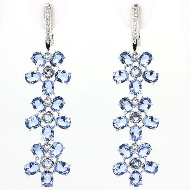 Gorgeous Long Rich Bl, White CZ Wedding Woman's 925 Silver Earrings 57x14mm
