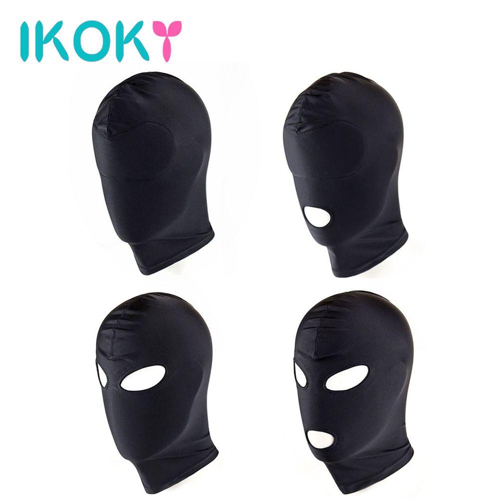 IKOKY 4 Style Fetish Mask Hood Sexy Toy Open Mouth Eye Bondage Hood Party Mask Cosplay Hood Headgear Mask Adult Game Sex Product