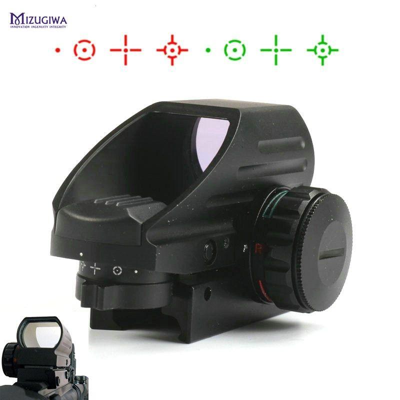 MIZUGIWA Grün Red Dot Anblick-bereich Jagdoptik 1x22x33 Umfang 4 Reflexvisier Airsoft Weaver 20mm Montieren AK Luftgewehr Gewehr