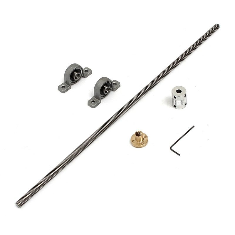 2 Satz/los T8 gewindespindel 400mm 8mm + messing kupfer mutter + lager Halterung + aluminium wellenkupplung für 3d-drucker zubehör