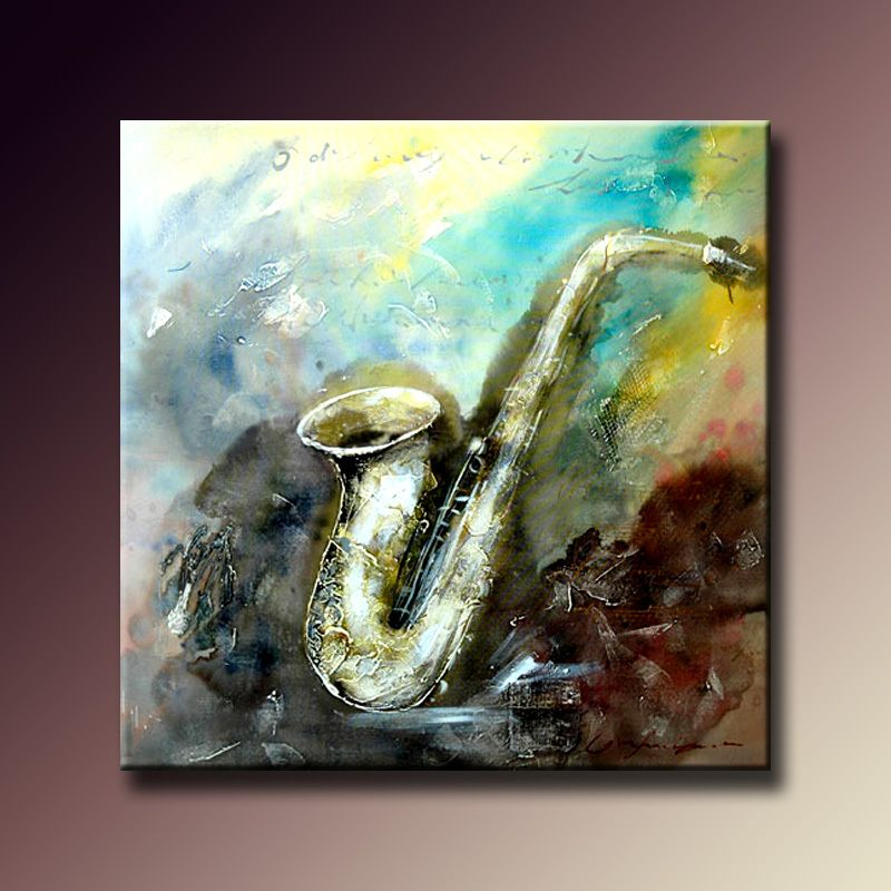 Unframed Hand Painted Canvas Painting Modern Abstract Saxophone Oil Painting for Living Room Bedroom Hotel Wall Decor 65x65cm