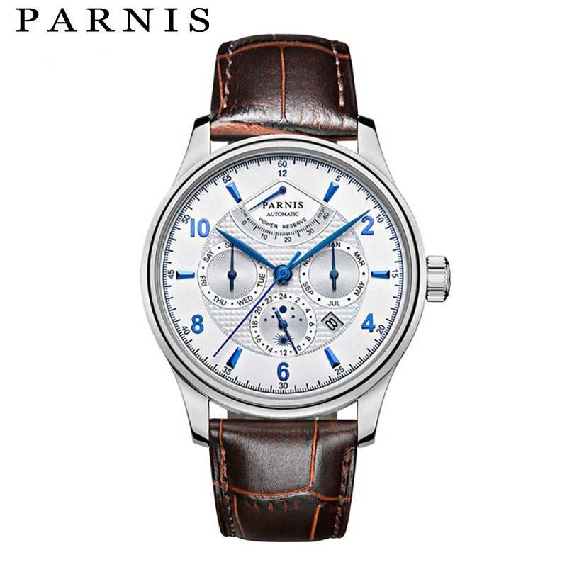 42mm Parnis Automatic Watch Men Sapphire Crystal Miyota Movement Auto-Date Luxury Power Reserve Moon Phase Mechanical Wristwatch