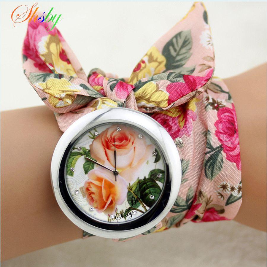 Shsby nueva señoras del diseño tela flor moda reloj mujeres vestido reloj tela de la alta calidad del reloj muchachas reloj