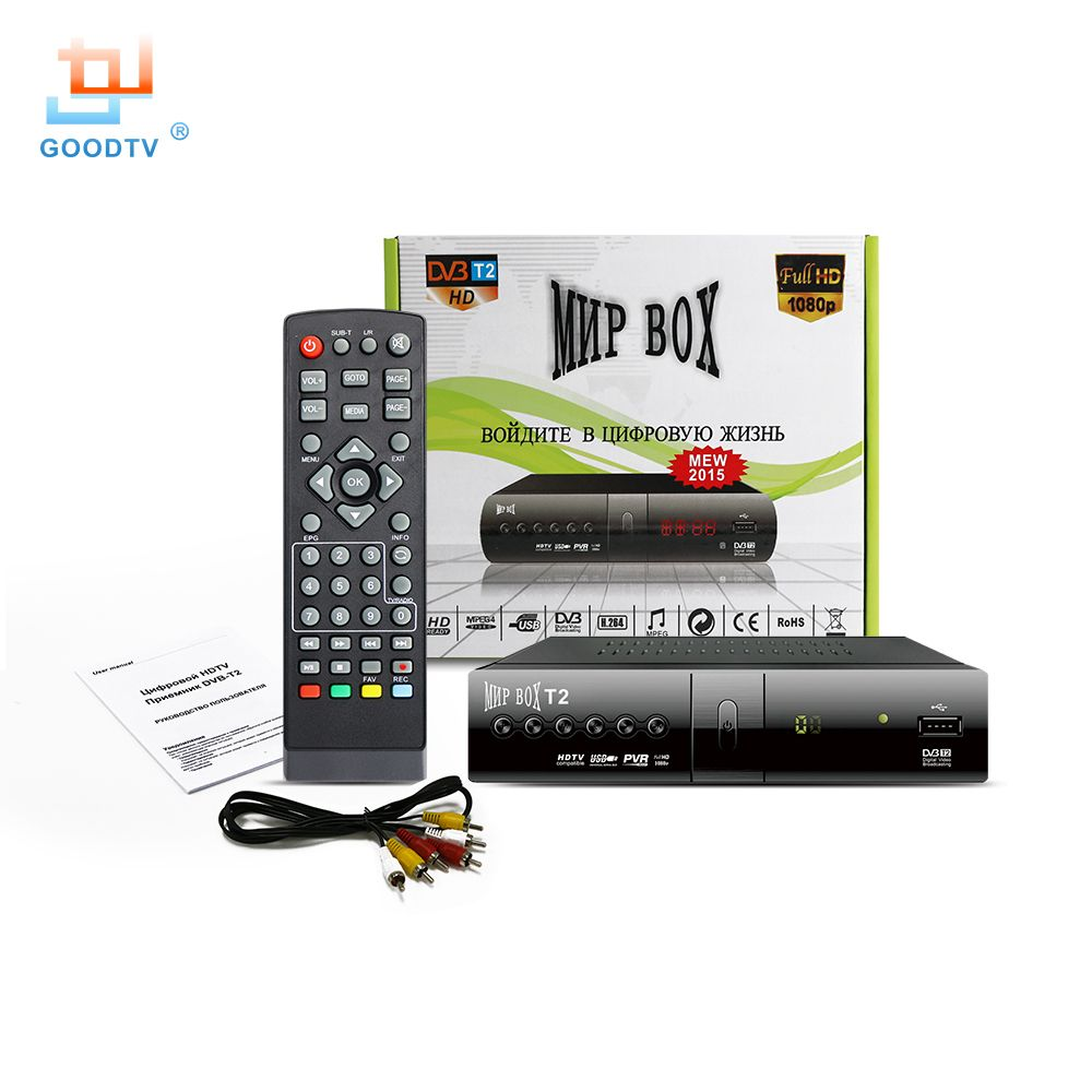 Dvb T2 Récepteur de TÉLÉVISION H.264 1080 p HD MNP Boîte de TÉLÉVISION Intelligente Lecteur Multimédia DVB-T2 GOODTV Décodeur russie Canaux Boîte de Télévision