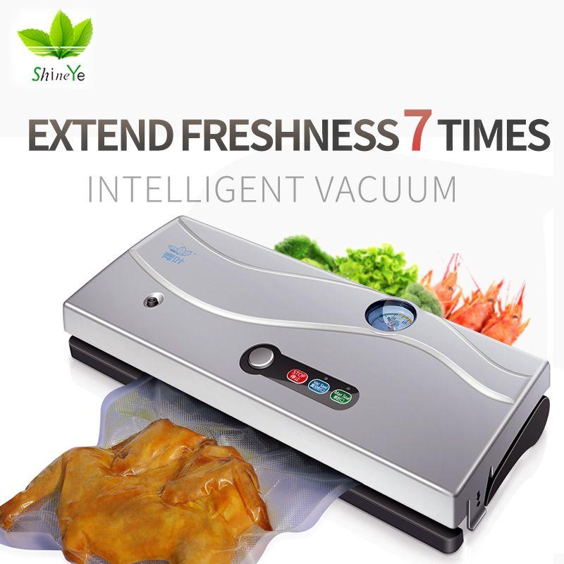 ShineYe 220V/110V Household Food Vacuum Sealer Packing Machine Film Vacuum Packer Container Food Sealer Saver Include 10Pcs Bags