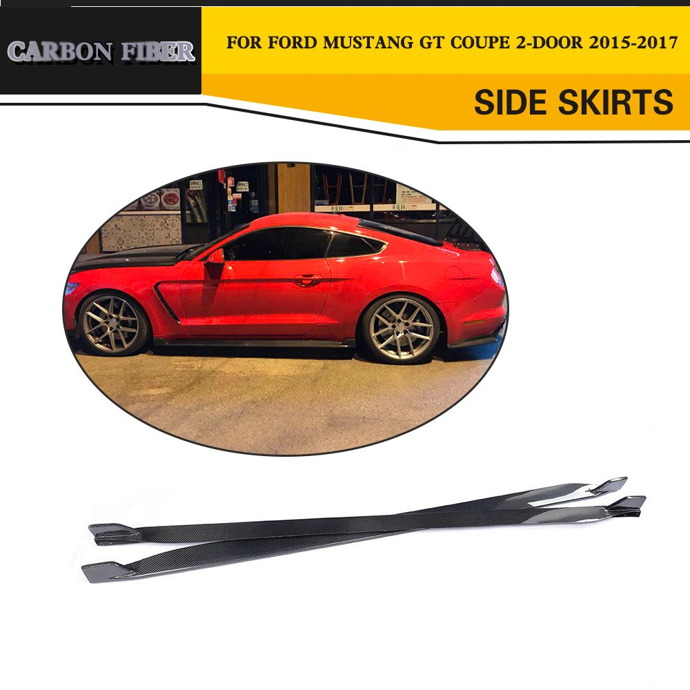 Carbon Fiber Car Accessories Side Skirts Body Apron for Ford Mustang Coupe Convertible 2 Door 2015-2017 Non-Shelby GT350
