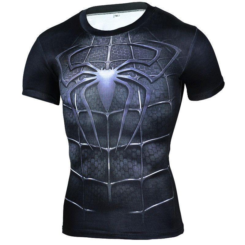 Marque vêtements T shirt hommes super héros Compression chemise 3D T Shirt noir panthère T-shirt musculation entraînement T-shirt