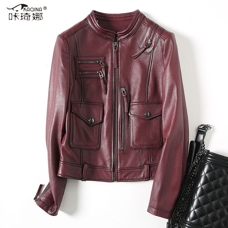 Autumn Genuine Leather Jacket Women 2018 New Real Sheepskin Leather Coat Fashion Vintage Short Biker Jackets Veste Femme ZL414